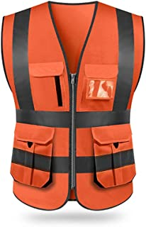 Roloiki High Visibility Reflective Safety Vest Reflective Vest Multi Pockets Workwear Security Working Clothes Day Night Motorcycle Cycling Warning Safety Waistcoat
