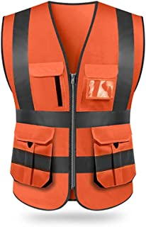 KKmoon SFVest High Visibility Reflective Safety Vest Reflective Vest Multi Pockets Workwear Security Working Clothes Day Night Motorcycle Cycling Warning Safety Waistcoat