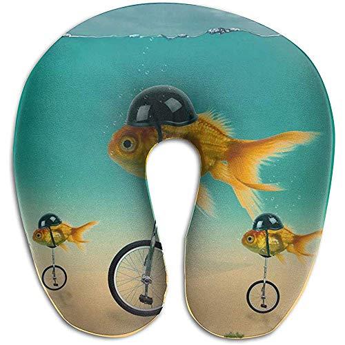 Warm-Breeze Memory Foam Travel Nackenkissen, lustige Fische auf dem Fahrrad Nackenkissen unterstützt Kopf und Kinn