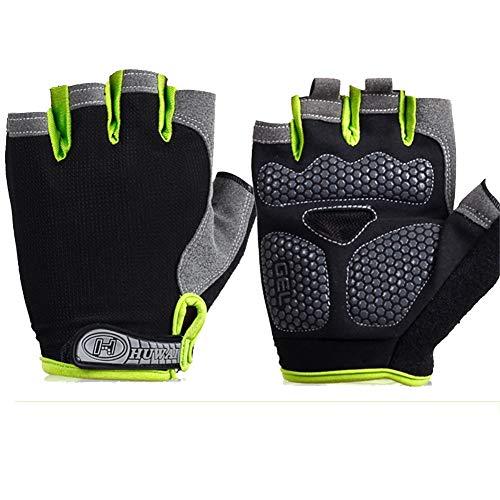 SHOUtao Fitness-Handschuhe für Männer und Frauen rutschig fingerlos Wandern Angeln Halbe Finger Fahren Radfahren Sporthandschuhe, C Schwarz Grün-M