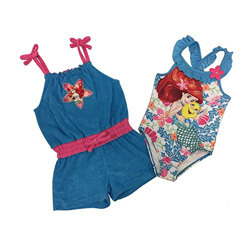 Disney The Little Mermaid Ariel Little Girls Swimsuit and Cover Up Set (2T)