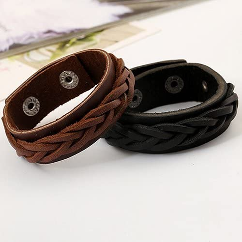 MileHouse Earrings for Women Men,Men's Cool Classic Style Knitted Leather Bangle Punk Wristband Cuff Bracelet - Black