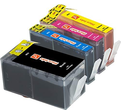 Pisco Inks – Cartucho de tinta refabricado para usar en lugar de 902, 903 (Negro/ Cian/ Magenta/ Amarillo pack de 4)