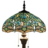 Tiffany Style Floor Standing Lamp 64 Inch Tall Sea Blue Stained Glass Shade Crystal Bead Dragonfly 2 Light Antique Base for Bedroom Living Room Reading Lighting Table S147 WERFACTORY