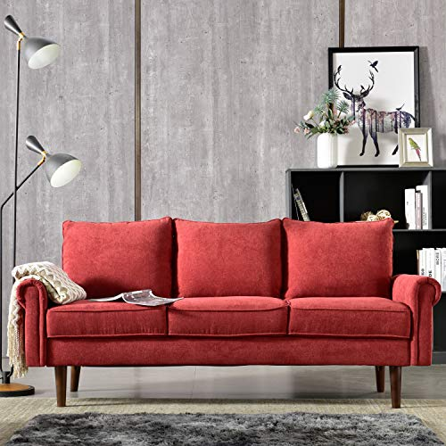 Ovios High Back Futon,74 inch Tufted Fabric Couch,Spring Upholstered Sofa for Living Room (Red)