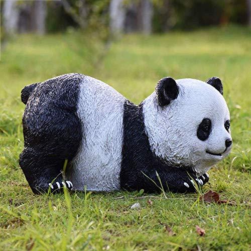 Living Equipment Adornos de jardín Figura de Panda Gigante simulado Estatua de jardín de Resina Impermeable al Aire Libre para jardín Decoración de césped Paisaje Artesanía Regalo E: 30 * 28 * 38cm