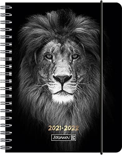 """BRUNNEN 1071855062 Schülerkalender 2021/2022 (18 Monate) """"Lion"""" 2 Seiten = 1 Woche, Blattgröße 12 x 16 cm, A6, PP-Einband"""