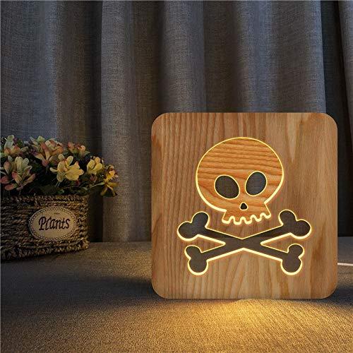 Solo 1 pieza Halloween 3D LED luz de noche de madera lámpara de mesa hueca lámpara de mesa de alimentación USB para bebés niños regalos de Navidad y año nuevo