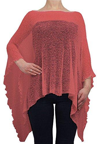 Poncho holgado para mujer, encaje de crochet Rosa coral talla única