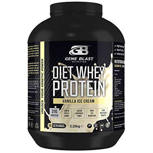 Gene Blast Diet Whey Protein Powder, High Protein, Low Carb, Low Sugar, with CLA, L Carnitine, Green Tea, Acai Berry 2.25kg - 60 Servings (Vanilla Ice Cream)