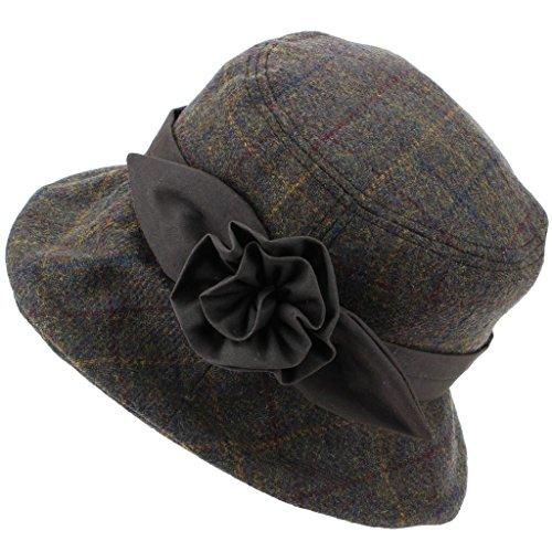 Hawkins Dames Wol Tweed Cloche Hoed met een Wax Band en Bloem - Bruin