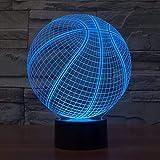 Fantasy Basketball 3D Illusion 7 Couleur Lampe optique LED Lampe de chevet avec amplificateur de câble USB;Télécommande enfants anniversaire cadeau de Noël