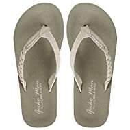 Flip Flops for Women with Arch Support, Yoga Mat Beach Sandals for Women, Dressy Beach Flip Flops with Rubber Sole and Leather Straps