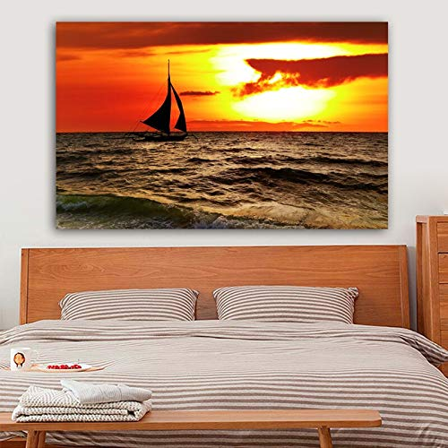 jiushice Rahmenlose Poster Meer Schiff Wolken Sonnenuntergang Boot Leinwand ng Wandkunst Bilder Für Wohnzimmer Und Drucke Dekorative ng 40x60 cm