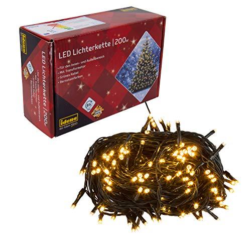 Idena 31224 - LED Lichterkette mit 200 LED in bernsteinfarben, mit 8 Stunden Timer Funktion und Transformator, ca. 27,9 m lang, Innen- und Außenbereich, für Partys, Weihnachten, Deko, Hochzeit