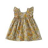 Baby nest ワンピース 女の子 ベビー服 夏 ドレス フォーマル セレモニー服 結婚式 かわいい チュールスカート ノースリーブ 綿 雛菊 イエロー 100cm 24-36ヶ月