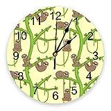 Leeypltm cuarzo redondo reloj de,esbelto loris pereza animales kawaii silencioso reloj de pared ,reloj de pared de alta precisión,para el hogar/la cocina/la oficina/la escuela regalo de año nuevo