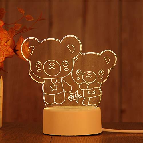 Lampe 3D Illusion optique Lampe de table alimentée par USB Matériau acrylique Panneau ABS Base pour décoration de table et décoration de nuit,Deux ours,Lumière chaude couleur USB