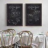 Fondo de grano de madera en blanco y negro Taza de cerveza Barril de cerveza Lienzo Pintura Póster Arte de la pared Restaurante Decoración de la cocina Sin marco-A_40x50cmX2