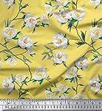 Soimoi Gelb Seide Stoff Blätter & Magnolie Blumen- Stoff