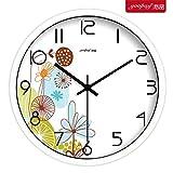 reloj de pared,reloj de pared adhesivo,reloj de pared grande.Creativo y fresco jardín flor sala de estar dormitorio decoración mudo reloj de pared moderno reloj de cuarzo, 25 cm