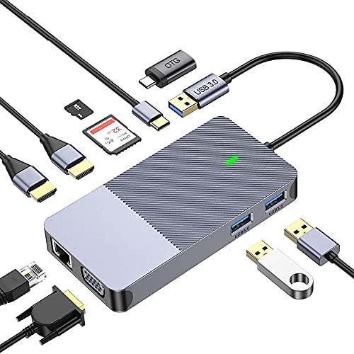HUB USB 3.0, Adaptador USB 3.0 con 2 Puertos USB 3.0 y Lector de Tarjetas SD/Micro SD,Transferencia de Datos 5Gbps para PC y Chromebook, Surface Pro 3, iMac de Mac OS, Linux y Windows XP y Más