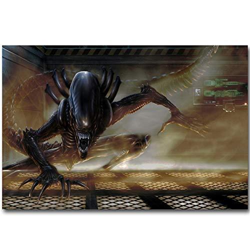 Alien vs Predator 3 Art Silk Poster Print Classic Science Fiction Movie Picture for Living Room Decoración de Pared impresión en Lienzo -60x90CM sin Marco