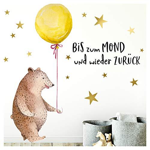Little Deco Aufkleber Bär mit Luftballon I M - 127 x 87 cm (BxH) I Wandbilder Wandtattoo Kinderzimmer Mädchen Deko Babyzimmer Junge Kinderbilder Sticker DL188