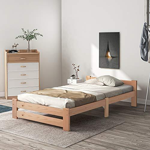 Cama de madera maciza con estructura de cama, futón, madera maciza, natural, con cabecero y somier, cama juvenil, color madera (200 x 90 cm)