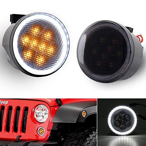 JK Turn Signal Lights White DRL Amber LED Front Grill Signal Parking Lights Smoke Lens Replace 2007-2017 Jeep Wrangler JK JKU