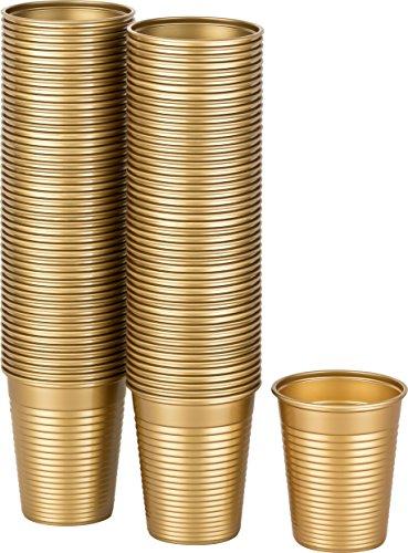Kigima Einweg Trinkbecher Kunststoff Gold, 100 STK, 0,18 Liter