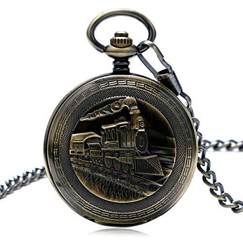 XYSQWZ Reloj De Bolsillo Reloj De Cuerda Manual Locomotora Cadena De Motor Regalo De Doble Cazador Corriendo Tren De Vapor Reloj De Bolsillo Mecánico