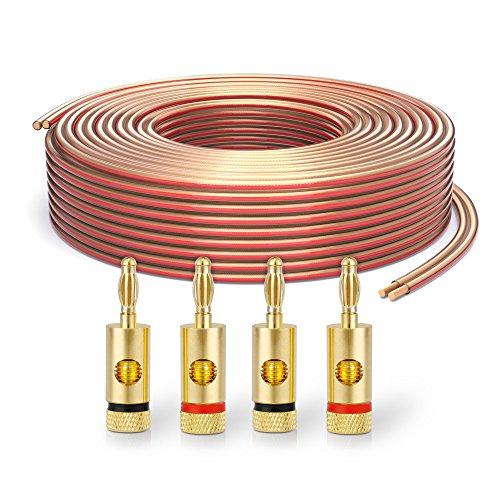 PureLink SP060-010 Cavo per diffusori 2x2,5 mm² (filo 99,9% OFC rame pieno 0,20 mm) Cavo per diffusori HiFi, 10 m, trasparente, set con 4 spine a banana