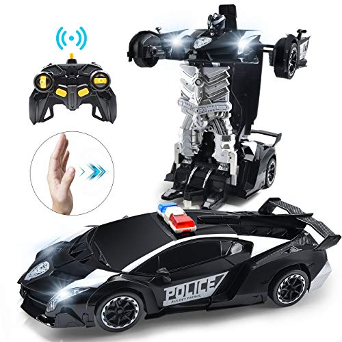 Janboo 1:14 RC Cars Robot for Kids, Transformrobot Racing Toys, Gesture Sensing Remote Control Car with One-Button Deformation Auto Demo, 360° Rotation Light Music Car Best Gift for Boys Girls (Black)