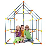 Kids Construction Fort Building Kit,158 Pcs Children'S Fort Construction Building Toys,For Boys and Girls to Diy Building Castles Tunnels Play Tent Rocket Tower Indoor & Outdoor Playhouse(158pcs)