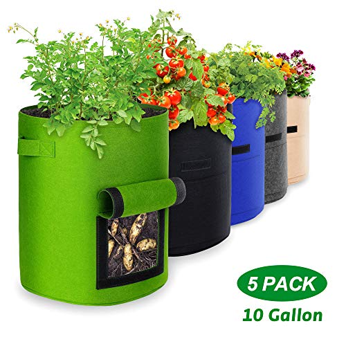 IPOW Potato Grow Bags, Plant Grow Bags 10 Gallon 5 Pack Garden Container Heavy Duty Aeration Fabric Pots Thickened Nonwoven Fabric Grow Bags with Flap Handles for Veggies Flower Planter