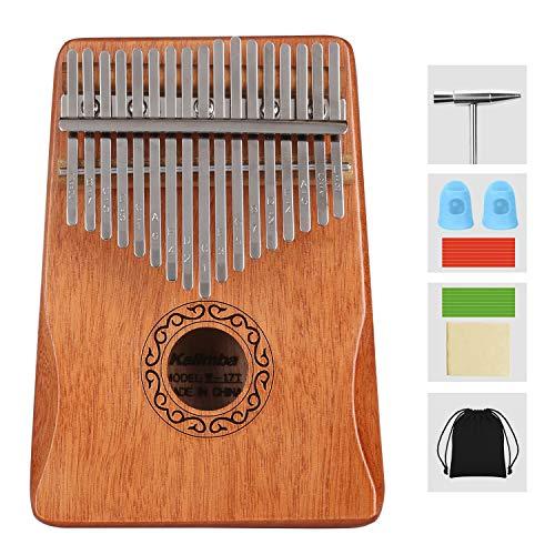 Topdécoré Kalimba 17 Clés Pouce Doigt Piano Portable Instrument de Musique avec Accessoires,Kalimba instrument avec tuning hammer pour enfants adultes débutants amateurs (Jaune)