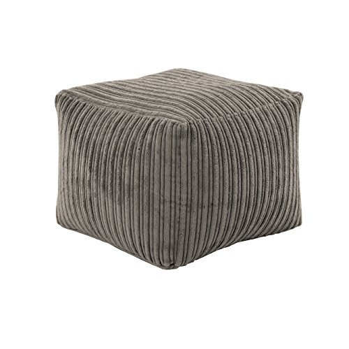 Hippo Relaxing Footstool Cube Bean Bag   Home Furniture Living Room   Lightweight Soft & Comfy   Jumbo Cord Square Foot Rest Pouffe Beanbags (Charcoal)