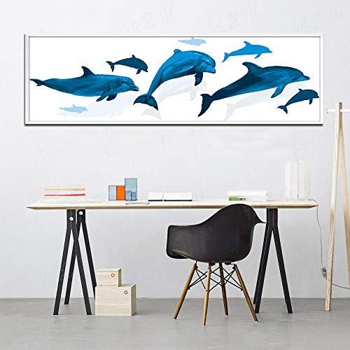 zgwxp77 Leinwanddruck modulares Bild Wandkunst blau Delfin Malerei Moderne Familie Hauptdekoration Malerei25x85cm ohne Rahmen