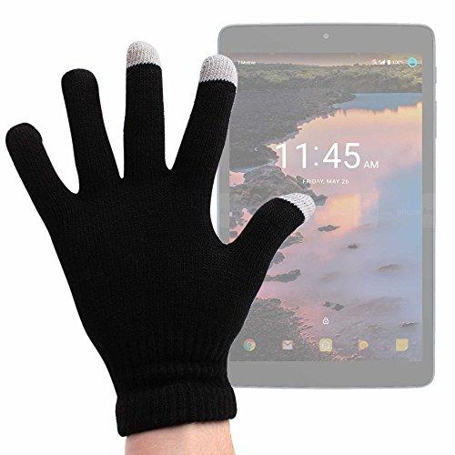 DURAGADGET Guantes Negros para Pantalla Táctil para Tablet Xiaomi Mi Pad 3 / Odys Xelio PhoneTab 7 / Huawei MediaPad T3 7.0 / Huawei MediaPad T3 8.0, LG U+ Pad 8 / Alcatel A30 - Talla Mediana