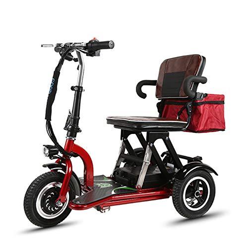 JHKGY Scooters Eléctricos De 3 Ruedas,Scooter De Viaje Portátil,Scooter De Movilidad Eléctrico Plegable De 3 Ruedas,Scooter Eléctrico De Viaje para Ancianos/Discapacitados/Al Aire Libre
