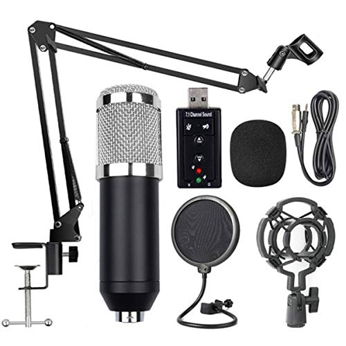 Best Deals! Ruiqas Condenser Microphone Mic Set with USB 3D HiFi Sound Card Mount Stand Boom Arm Sho...