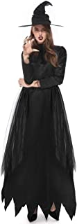 Doric Womens 2 Piece Suit Halloween Magic Witch Cosplay Party Dress Long Dress(Contains Dresse,Hat)