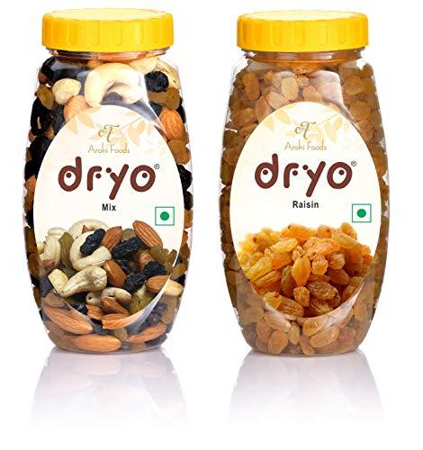 dryo Natural & Combo Pack of Mix Dry Fruits 220 gm (Mixture of Almonds, Black Raisin, Cashew & Raisin) and Raisins 250 gm (470 gm)...