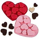 webake Silikon Schokoladenform Pralinenform Herz 2er Set Backen Schokolade Formen BPA Frei...