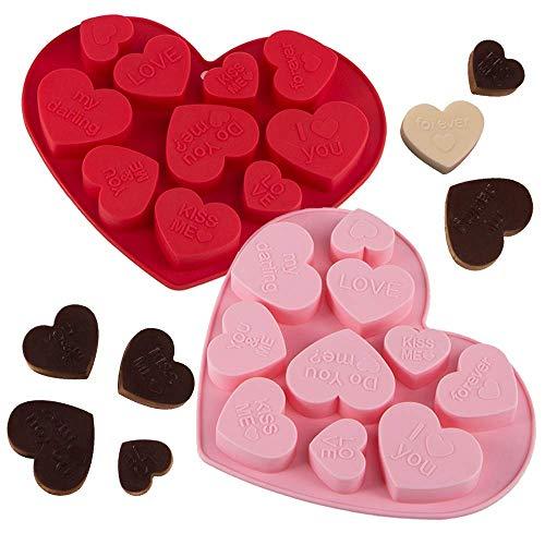 Webake Lot de 2 Moules à Chocolat Silicone de Forme de Coeur Anti-adhésif Candy Moule à gâteau au chocolat Jelly Cake - Rose et Rouge