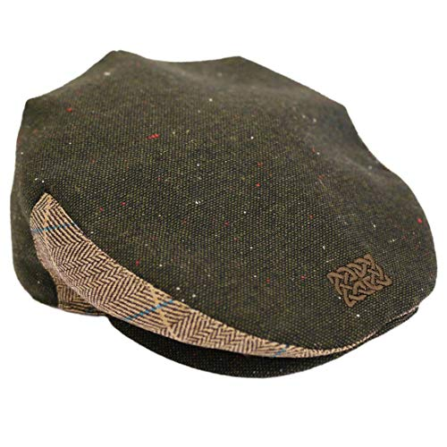 Patrick Francis Green Tweed Celtic Knot Flat Cap (Green Tweed, Large)