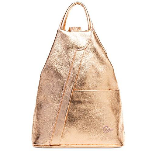 Caspar TL782 2 in 1 Leder Rucksack Handtasche, Farbe:roségold, Größe:One Size