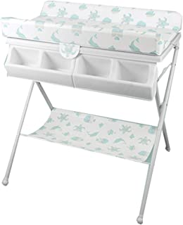 Portable Infant Changing Table, Foldable Diaper Station with bidet Dresser Unit for Nursery (Color : White)