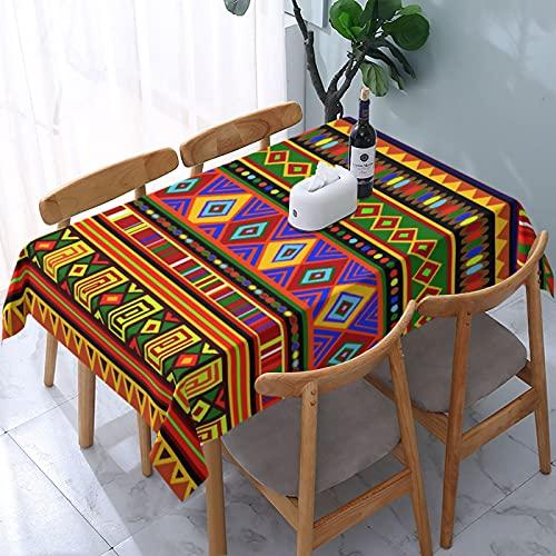 SUDISSKM Mantel Rectangular Étnico Colorido del Modelo del Arte de África Antimanchas Lavable Manteles para JardíN Cocina Comedor 137x183cm